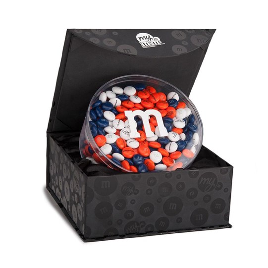 Denver Broncos NFL M&M'S Candy Acrylic in Black Gift Box, Front View of Acrylic with Candy in Black Gift Box