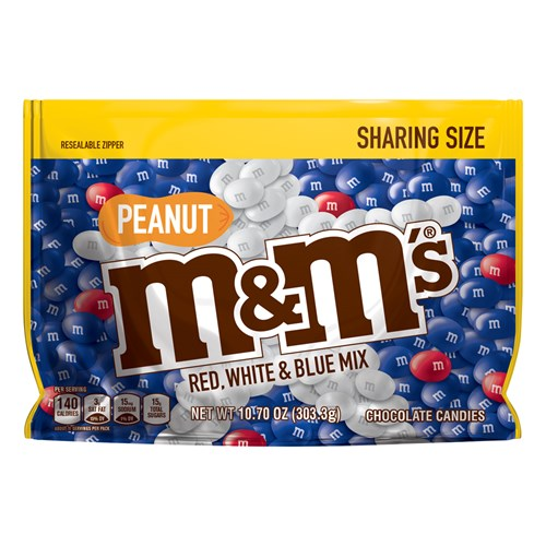 M&M'S Red, White & Blue Peanut Patriotic Chocolate Candy 10.7 oz Bag, Sharing Size
