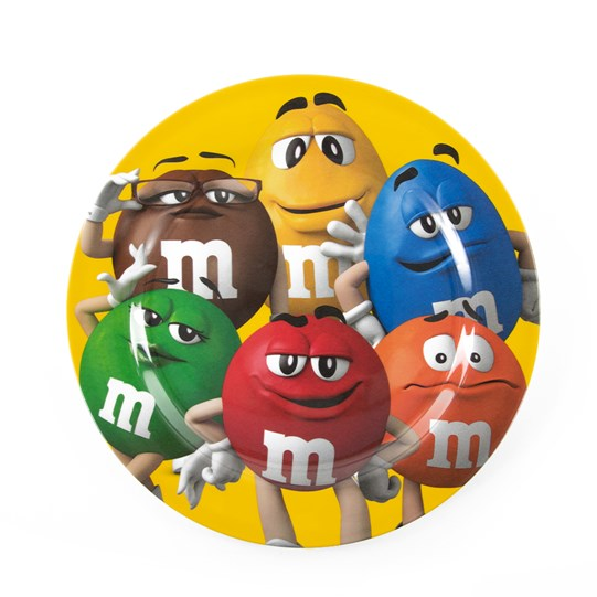 M&M'S All Character Plate, Front View of Yellow Dinner Plate with All 6 M&M'S Color Characters