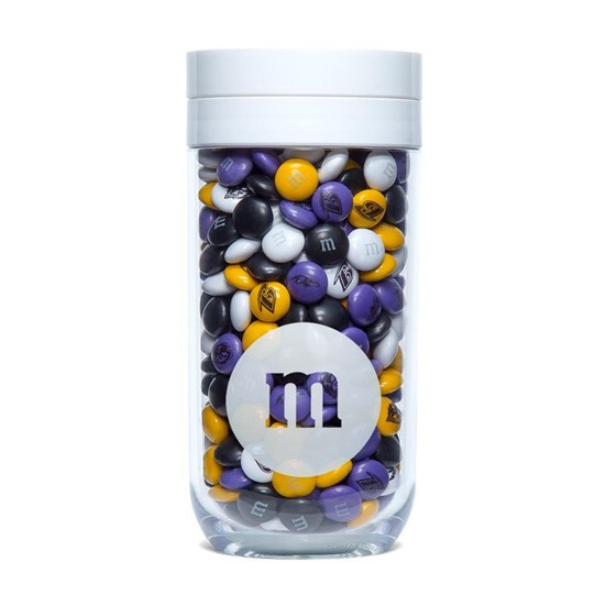 Baltimore Ravens NFL M&M'S Gift Jar, Front View of Gift Jar on side filled with Ravens M&M'S
