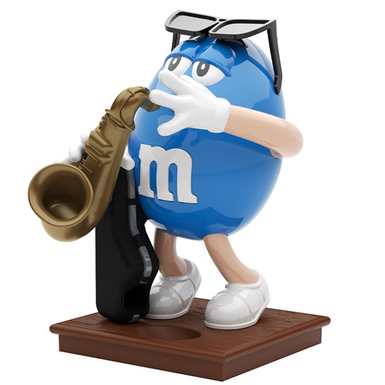M&M'S Saxophone Dispenser, Side View of Blue M&M'S Character Playing the Saxophone.