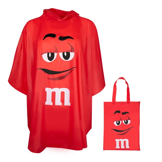 M&M'S Character Poncho In Tote Bag, Front View of Character Poncho and Character Bag it Comes In