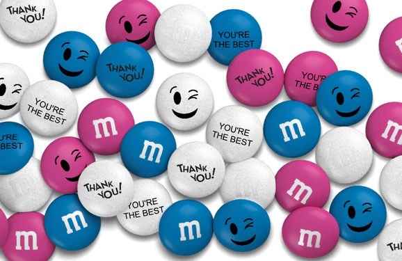 Personalized thank you gift M&M'S on a white background