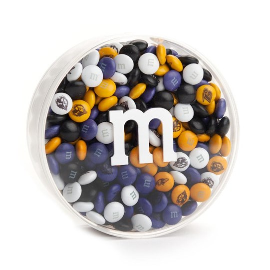 "Baltimore Ravens NFL M&M'S Round Gift Box, Front View of Round Acrylic with ""m"" logo, filled with Ravens M&M'S"