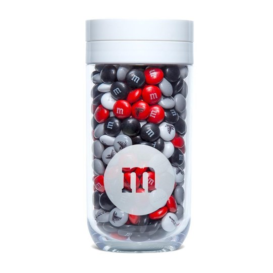 Atlanta Falcons NFL M&M'S Gift Jar, Front View of Gift Jar filled with Falcons M&M'S