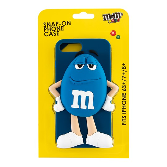Blue M&M'S Character iPhone Case, Back View of Blue Silicone iPhone Case with Blue M&M'S, iPhone 6S+, 7+ & 8+ Inside Package