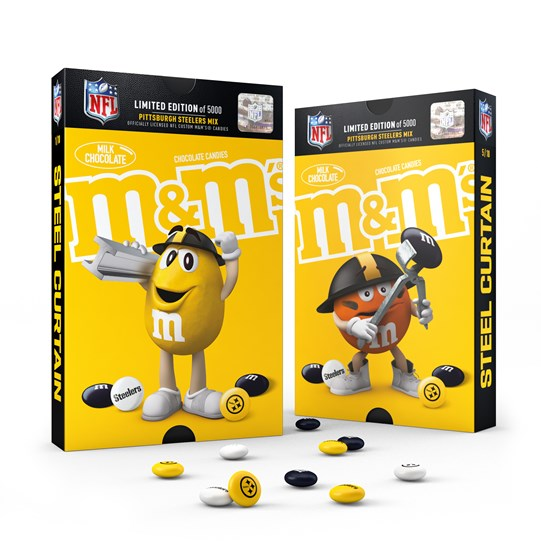 Officially Licensed Pittsburgh Steelers M&M'S Milk Chocolate Candies Fan Favorites Pack, Pack of 2. Front View