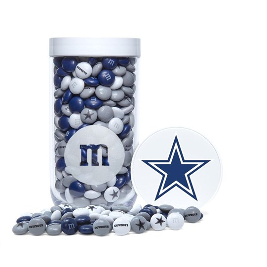 Dallas Cowboys NFL M&M'S Candy Gift Jar, Front View of Gift Jar & Lid with Cowboys Logo