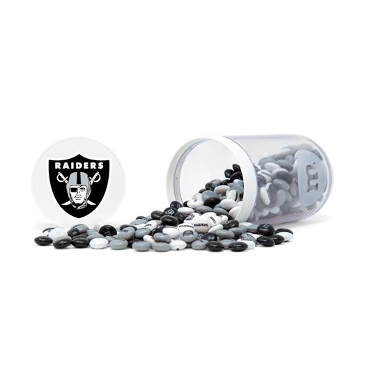 Oakland Raiders NFL M&M'S Candy Gift Jar - Raiders logo on lid and Raiders M&M'S candy inside jar - Candy spilled