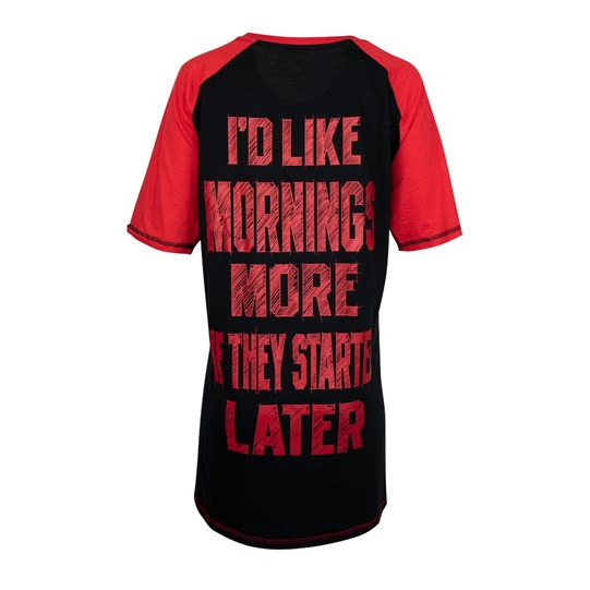"Back of Ladies Later Mornings Dorm Shirt says ""I'd Like Mornings More If They Started Later"""