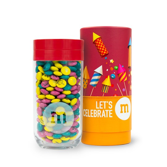Personalizable M&M'S Gift Jar next to Let's Celebrate Gift Tube
