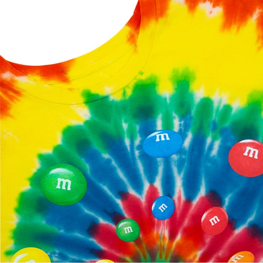 Men's M&M'S Tie Dye Tee, Up Close View of T-Shirt Showing Tie Dye Pattern & Swirl of Colorful M&M'S Lentils in Center