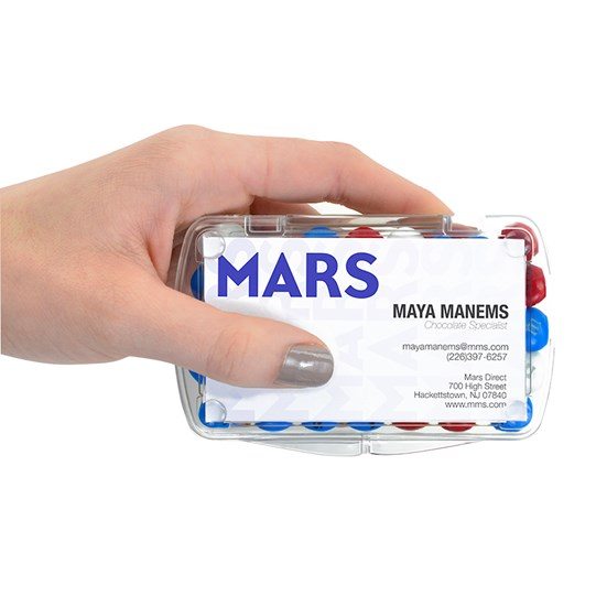 Hand holding single Personalizable M&M'S Business Card container
