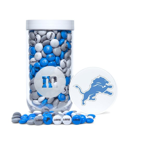 Detroit Lions NFL M&M'S Candy Gift Jar, Front View of Jar and Lions Logo on Lid