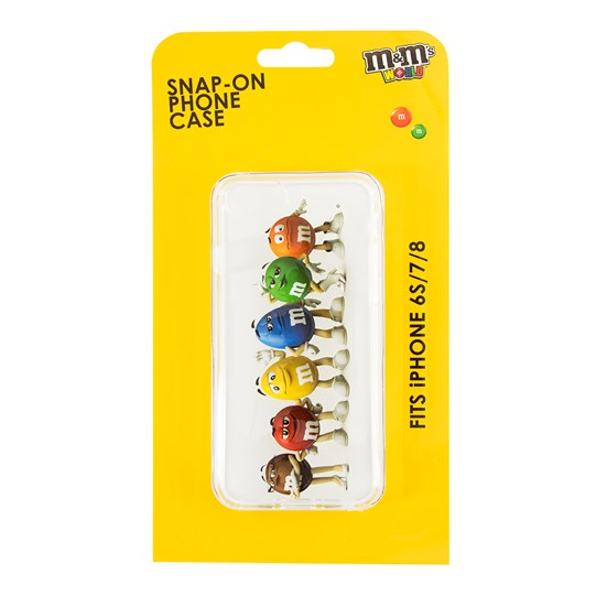 M&M'S Characters 3-D iPhone Case, Showing All 6 M&M'S Characters Lined-up on Back of iPhone Case inside Yellow M&M'S Packaging