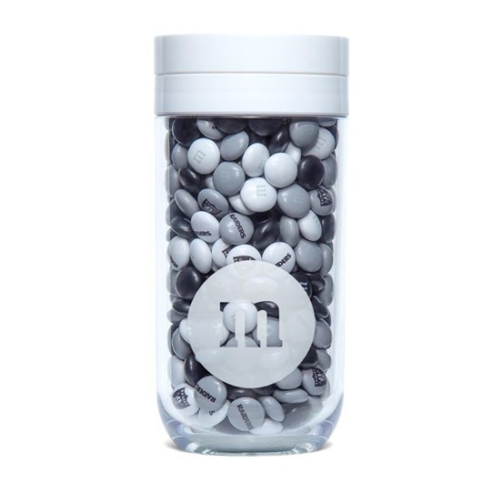 Oakland Raiders NFL M&M'S Candy Gift Jar - Raiders logo on lid and Raiders M&M'S candy inside jar