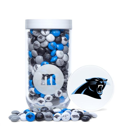 Carolina Panthers NFL Candy Gift Jar, Front View of Gift Jar filled with Panthers M&M'S & Panthers Logo on Lid