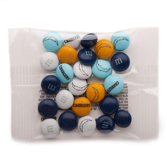Los Angeles Chargers NFL Party Favor Packs, Front View of 1 Party Favor Pack Filled with Chargers-themed M&M'S