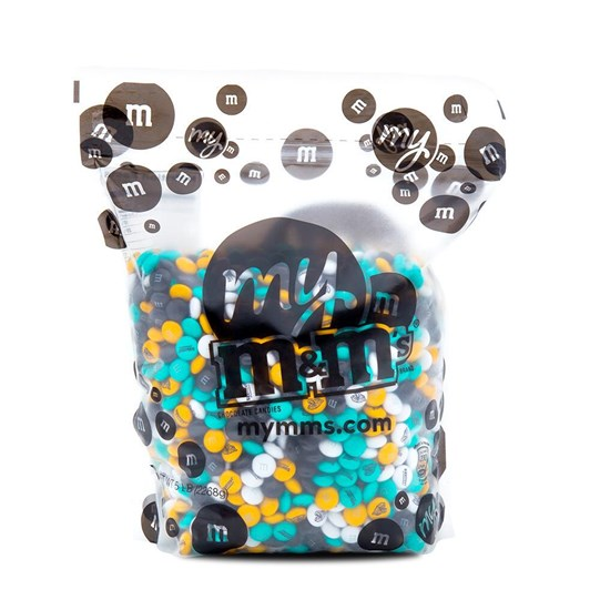 Jacksonville Jaguars NFL M&M'S Bulk Candy, Front View of 5lb Bulk Bag of Jaguars-themed M&M'S