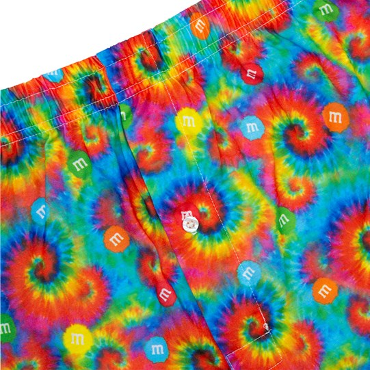 Close up on design of Men's M&M'S Tie Dye Lounge Shorts