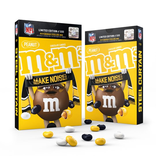 Officially Licensed Pittsburgh Steelers M&M'S Peanut Milk Chocolate Candies Fan Pack, Pack of 2 Front View