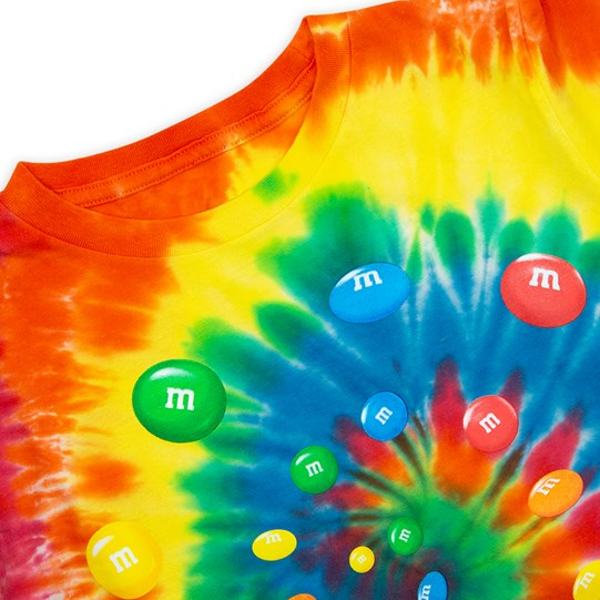Youth M&M'S Tie Dye Tee, Up Close View of T-Shirt Showing Tie Dye Pattern with Swirl of Colorful M&M'S Lentils