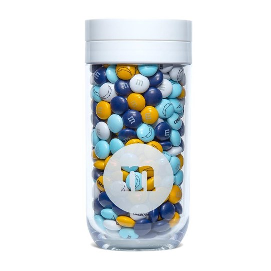 Los Angeles Chargers NFL M&M'S Candy Gift Jar - Features blue and yellow M&M'S with Chargers clip-art and logo printed on candy