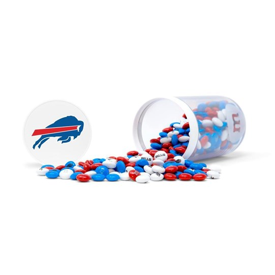 Buffalo Bills NFL M&M'S Candy Gift Jar, Alt View of Gift Jar on Side, filled with Bills M&M'S & Lid with Bills Logo