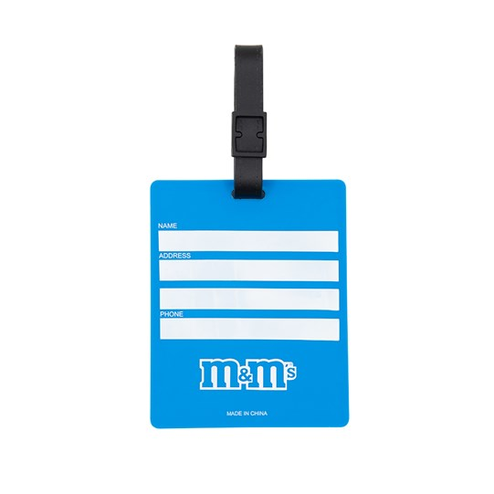 M&M'S Character Luggage Tag, Back View of Luggage Tag Showing Lines for Writing & M&M'S Logo