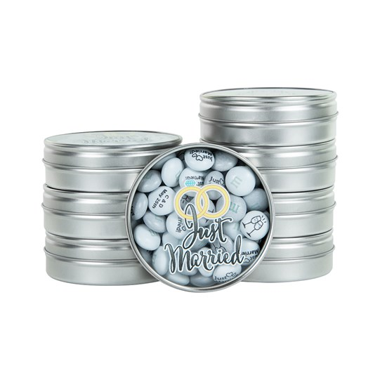"M&M'S Just Married Favors - ""Just Married"" printed on lid of favor"