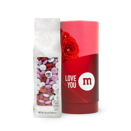 Personalizable M&M'S 10 oz Bag next to Romance Gift Tube