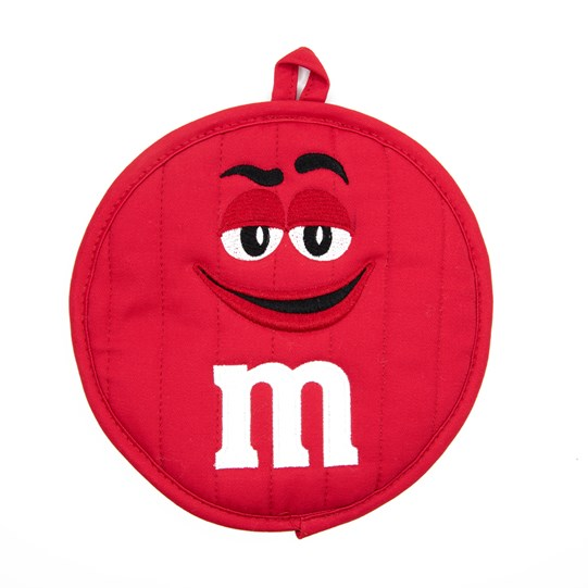 "M&M'S Character Big Face Round Pot Holder, Front View of Pot Holder Showing Character Face and White ""m"" Logo Detail"