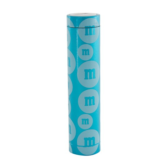 "M&M'S Tube Power Bank, Front View of M&M'S Power Bank with ""m"" Logo Design Outside Packaging"