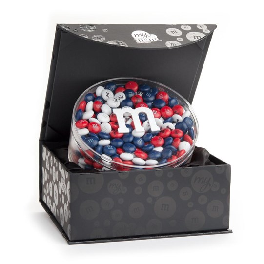 Houston Texans NFL Candy Acrylic in Black Gift Box - Texans-themed M&M'S inside gift box.