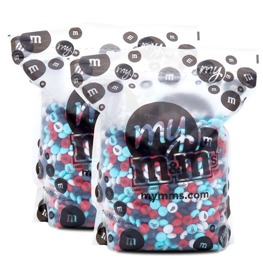 Tennessee Titans NFL M&M'S Bulk Candy, Front View of Two 5lb Bulk Bags Filled with Titans-themed M&M'S