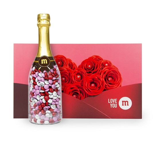 Personalizable M&M'S Occasion Bottle next to Romance Gift Box