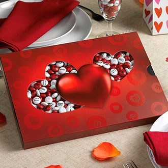 personalized red heart gift box with M&M'S candy inside