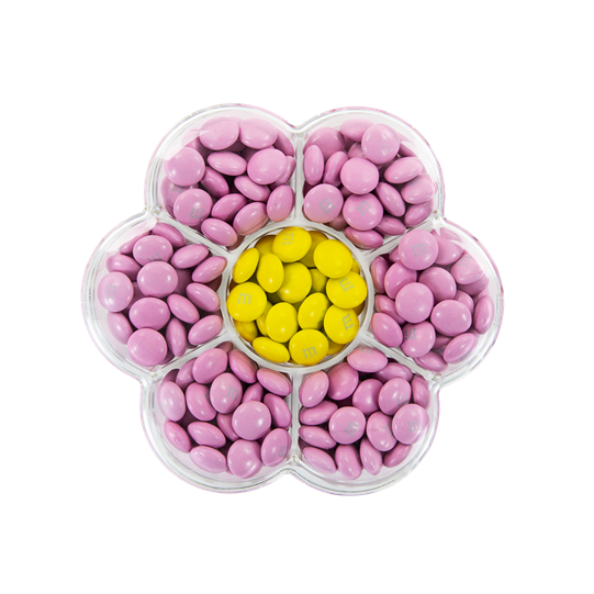 Pre-Designed Pink and Yellow M&M'S Flower Gift Box, View of Flower Box with Pink M&M'S in Petals and Yellow M&M'S in Center