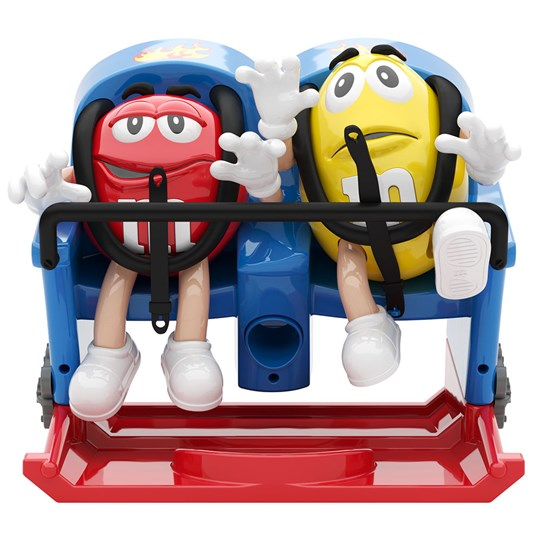 Rollercoaster M&M'S Dispenser, Front View of M&M'S Red & Yellow Characters Riding on a Rollercoaster Ride.