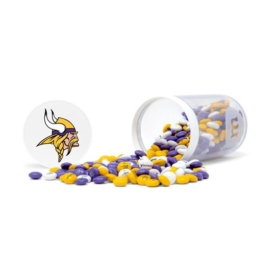 Minnesota Vikings NFL M&M'S Candy Gift Jar - Purple, yellow and white Vikings-themed M&M'S fill gift jar. Candy spilled.