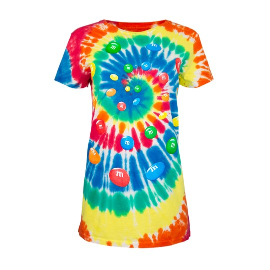 Ladies M&M'S Tie Dye Tee, Front View of T-Shirt Showing Tie Dye Pattern & Colorful Swirl of Lentils in Center