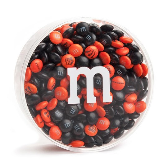 "Cincinnati Bengals NFL M&M'S Round Gift Box, Front View of Acrylic with ""m"" Logo on Outside, filled with Bengals M&M'S"