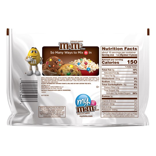 M&M'S Peanut White Chocolate Candy 9.6 Oz Bag, Sharing Size - Back of pack and nutrition label