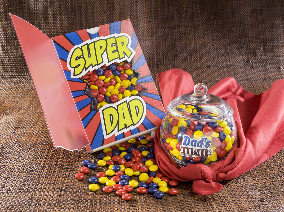 Personalized Father's Day gift M&M'S in a box titled Super Dad and a glass jar titled Dad's M&M'S