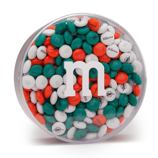 Miami Dolphins NFL M&M'S Round Gift Box - Dolphins-themed M&M'S fill clear gift box.