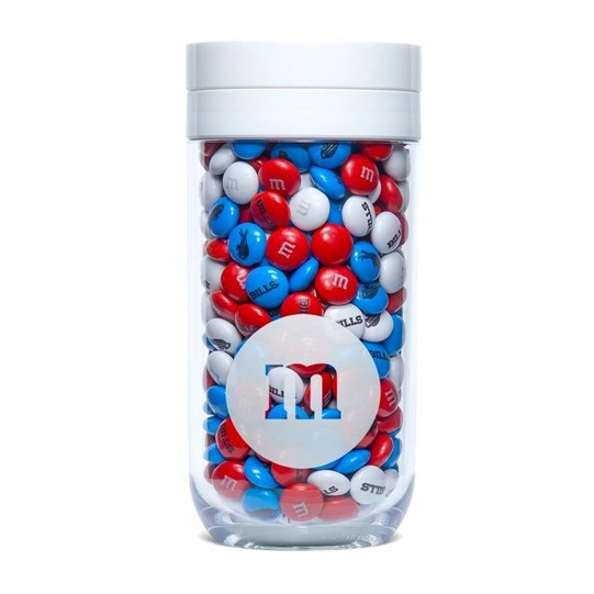 Buffalo Bills NFL M&M'S Candy Gift Jar, Front View of Gift Jar filled with Bills M&M'S