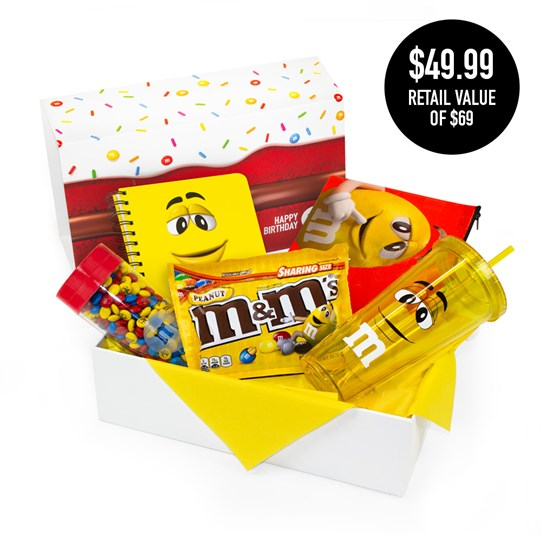 Curated birthday gift box with yellow character products and birthday M&M'S