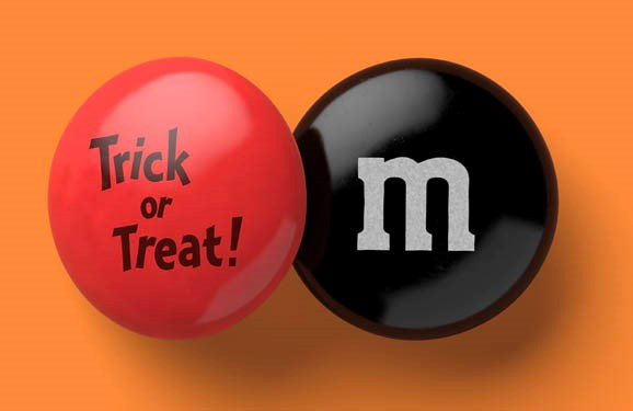 Personalized Halloween candy M&M'S on a orange background