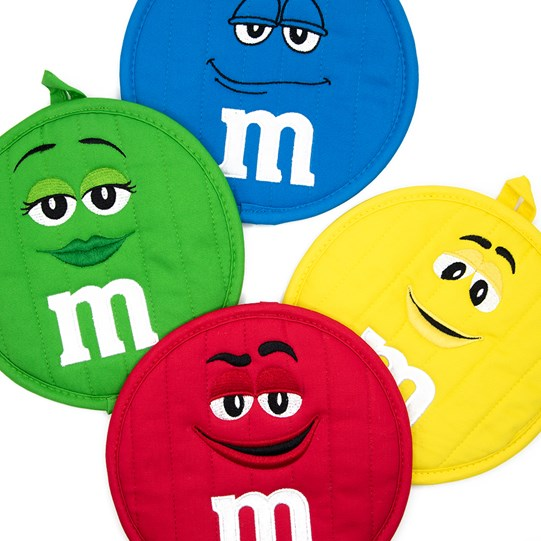 M&M'S Character Big Face Round Pot Holder, View of all 4 Color Characters Pot Holders Available in Red, Yellow, Green & Blue