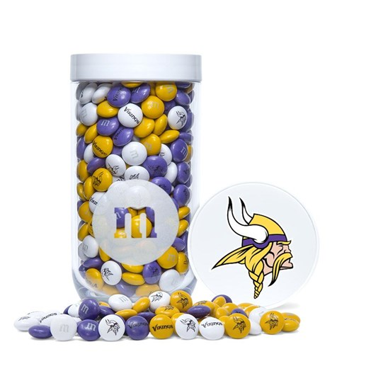 Minnesota Vikings NFL M&M'S Candy Gift Jar - Purple, yellow and white Vikings-themed M&M'S fill gift jar. Logo/emblem printed on lid.